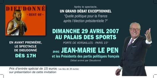 Dieudonné en guest star de Le Pen (Avril 2007)