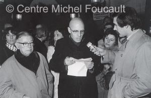 la conférence de presse sauvage du Groupe Information Prison dans les locaux du Ministère de la justice, place Vendôme, le 17 janvier 1972. Photo Elie Kagan