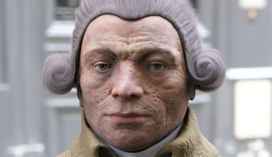 """La pseudo """"vraie tête"""" de Robespierre, reconstituée à partir d'un masque mortuaire probablement faux, mais idéal pour représenter un """"tyran sanguinaire""""."""