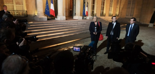Marine Le Pen, Florian Philippot and Nicolas Bay. French far-right party leader Marine Le Pen arriving at Elysee Palace and delivers a speech after a meeting with French President, Francois Hollande. Paris, FRANCE-15/11/2015/WITT_CHOIXWI011/Credit:WITT/SIPA/1511152058